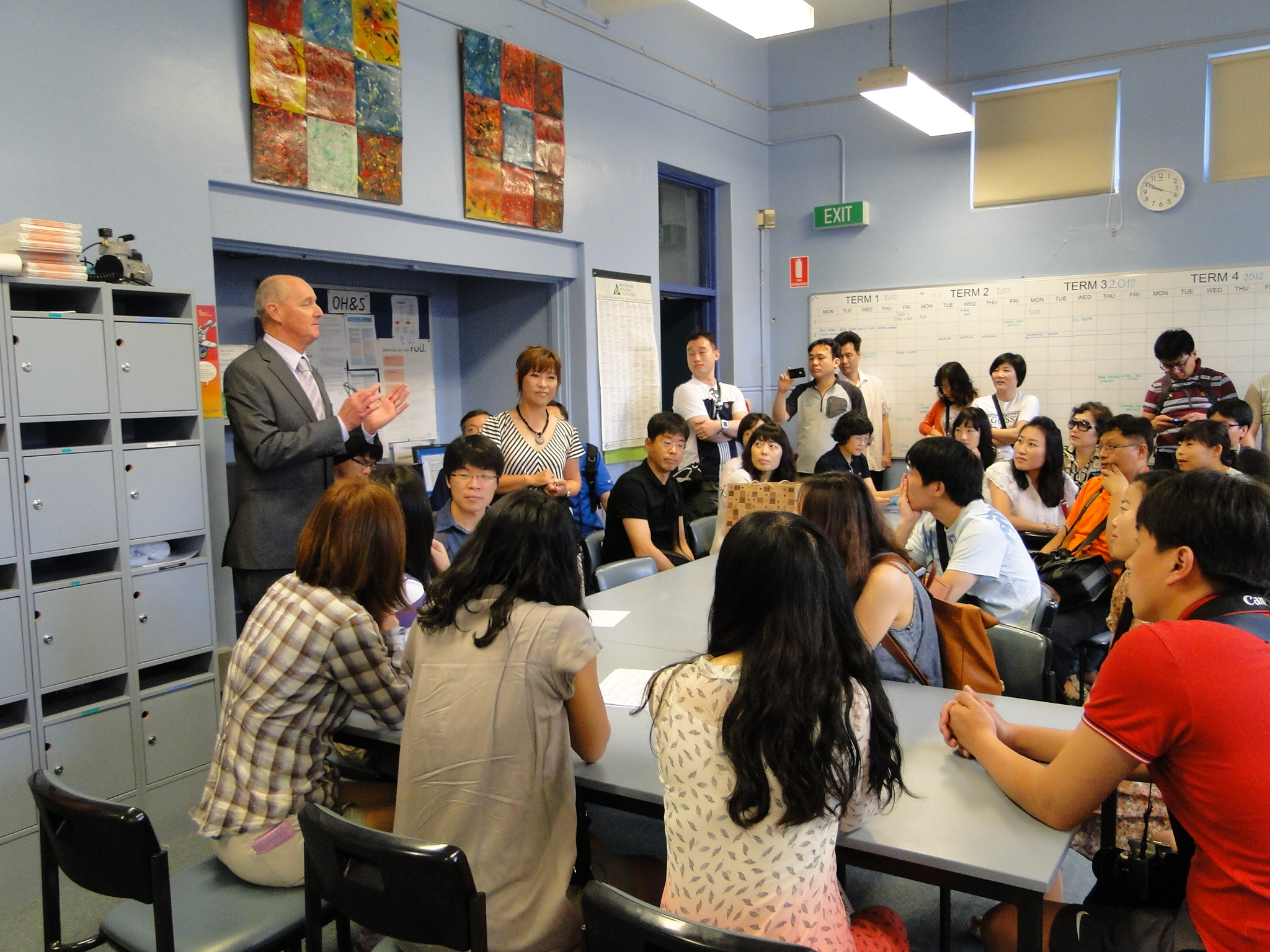 Homebush PS Korean student teacher exchange - Students and teachers gathered in classroom