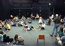 Students participating in group based drama based activities