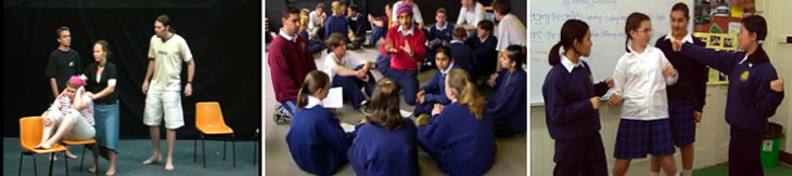 Students participating in drama activities