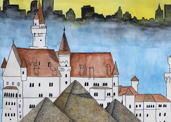 Watercolour: Old buildings, sand and pyramids