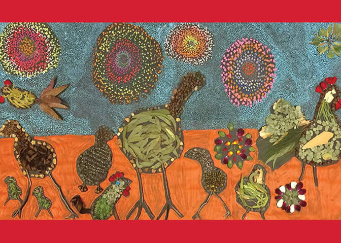 Collage made from paint and materials from nature - leaves, petals, gumnuts etc