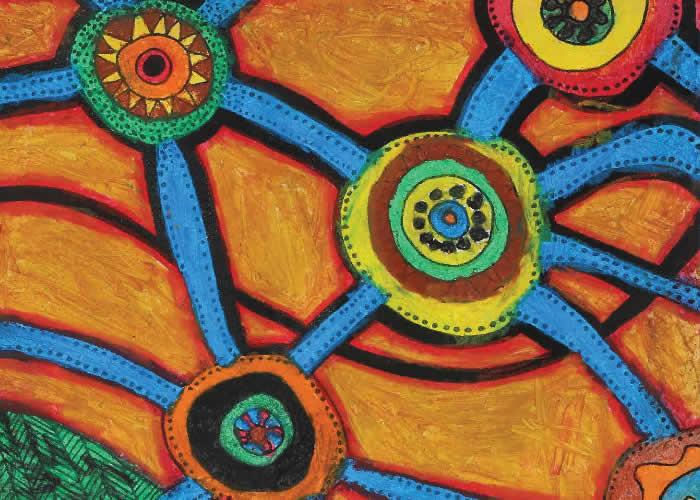 Aboriginal artwork - sitting around a fire