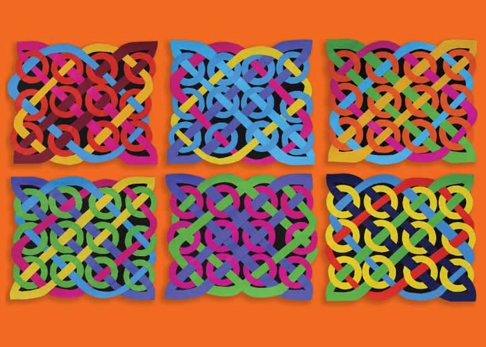 Colourful Celtic knots created by weaving paper
