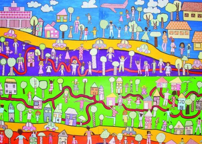 Painting of a town with an ethnically diverse population