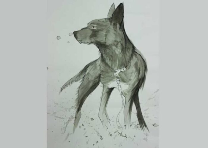Black and white dog watercolour painting