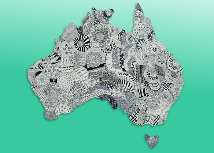 Outline of Australia with patterned discs within it