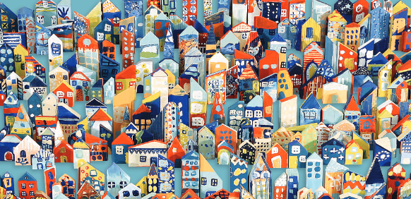 Artwork- lots of colourful houses